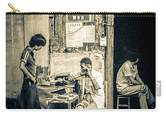 Carry-all Pouch featuring the photograph Phonecall On Chinese Street by Heiko Koehrer-Wagner