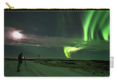 Carry-all Pouch featuring the photograph Photographer Under The Northern Light by Dubi Roman