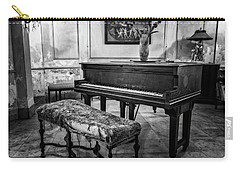 Carry-all Pouch featuring the photograph Piano At Josie's House Bw by Joan Carroll
