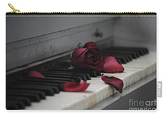 Piano With Vintage Rose Carry-all Pouch