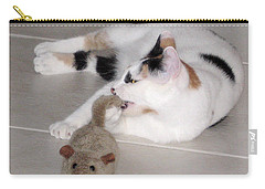 Carry-all Pouch featuring the photograph Pico And Toy Mouse by Phyllis Kaltenbach