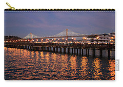 Pier 7 And Bay Bridge Lights At Sunset Carry-all Pouch