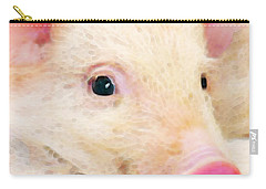 Pig Art - Pretty In Pink Carry-all Pouch by Sharon Cummings