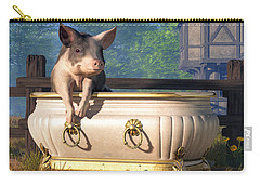 Carry-all Pouch featuring the digital art Pig In A Bathtub by Daniel Eskridge