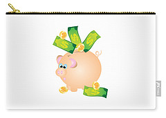 Piggy Bank With Bills And Coins Illustration Carry-all Pouch