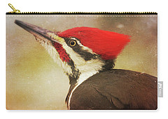 Carry-all Pouch featuring the photograph Pileated Woodpecker With Snowfall by Heidi Hermes