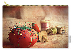 Pin Cushion And Wooden Thread Spools Carry-all Pouch