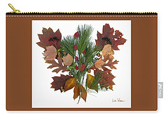 Pine And Leaf Bouquet Carry-all Pouch by Lise Winne