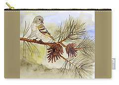 Carry-all Pouch featuring the painting Pine Siskin Among The Pinecones by Thom Glace