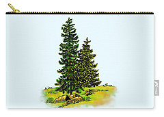 Pine Tree Nature Watercolor Ink Image 2b        Carry-all Pouch