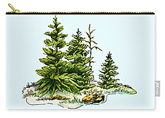 Pine Tree Watercolor Ink Image I         Carry-all Pouch