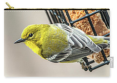 Pine Warbler On Feeder Carry-all Pouch by Jim Moore