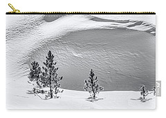 Pines In Snow Drifts Black And White Carry-all Pouch by Stephen Johnson