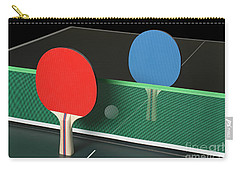 Ping Pong Paddles On Table, Standing Upright Carry-all Pouch