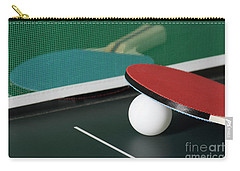 Ping Pong Paddles On Table With Net Carry-all Pouch