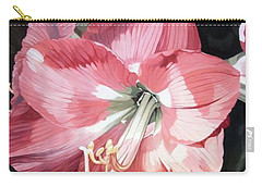 Carry-all Pouch featuring the painting Pink Amaryllis by Laurie Rohner
