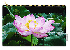 Pink And Green Floral Garden Ballet 11u Lotus Bloom Carry-all Pouch