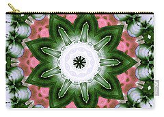 Carry-all Pouch featuring the digital art Pink And Green Floral by Shawna Rowe