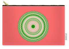 Pink And Green Mandala Fractal 002 Carry-all Pouch