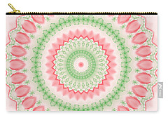 Pink And Green Mandala Fractal 003 Carry-all Pouch