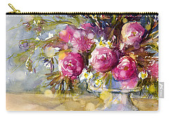 Pink And Navy Carry-all Pouch by Judith Levins
