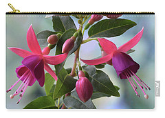 Pink And Purple Fuchsia Carry-all Pouch by Terence Davis