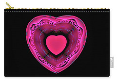 Carry-all Pouch featuring the digital art Pink And Red Heart On Black by Matthias Hauser