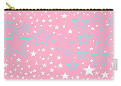 Pink And Turquoise Stars 1 Carry-all Pouch by Linda Velasquez