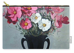 Pink And White Cosmos In Black Milk Glass Vase Carry-all Pouch