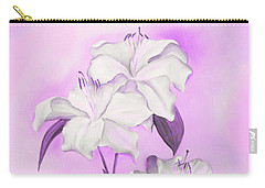 Carry-all Pouch featuring the mixed media Pink And White by Elizabeth Lock