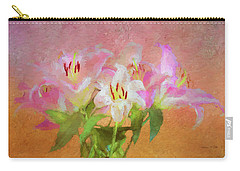Pink And White Lilies Carry-all Pouch by Bellesouth Studio