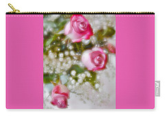 Carry-all Pouch featuring the photograph Pink And White Rose Bouquet by Diane Alexander