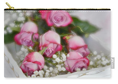 Carry-all Pouch featuring the photograph Pink And White Roses In White Box 2 by Diane Alexander