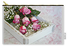 Pink And White Roses In White Box Carry-all Pouch by Diane Alexander