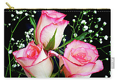 Pink And White Roses Carry-all Pouch