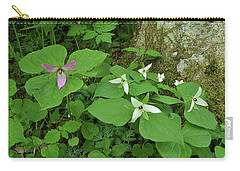 Pink And White Trillium Carry-all Pouch by Alan Lenk