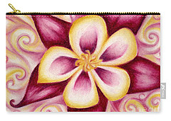 Pink And Yellow Columbine Flower Drawing Carry-all Pouch