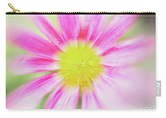 Pink Aster Flower With Raindrops Abstract Carry-all Pouch by Nick Biemans