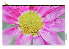 Pink Aster Flower With Raindrops Carry-all Pouch by Nick Biemans