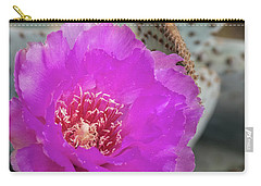 Carry-all Pouch featuring the photograph Pink Beavertail Cactus  by Saija Lehtonen