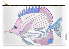 Pink Blue Fish Carry-all Pouch by Stephanie Troxell