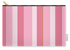 Carry-all Pouch featuring the mixed media Pink Blush Stripe Pattern by Christina Rollo