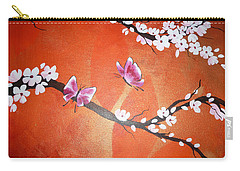 Pink Butterflies And Cherry Blossom Carry-all Pouch