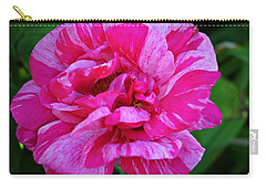 Pink Candy Stripe Rose Carry-all Pouch