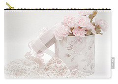 Pink Carnations In Rose Box Carry-all Pouch by Sandra Foster