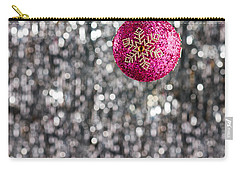 Carry-all Pouch featuring the photograph Pink Christmas Bauble by Ulrich Schade