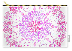 Pink Crab Mandala Carry-all Pouch by Stephanie Troxell
