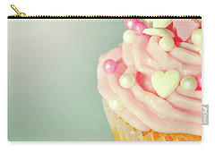 Carry-all Pouch featuring the photograph Pink Cupcake With Lovehearts by Lyn Randle