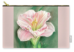 Carry-all Pouch featuring the pastel Pink Daylily And Green Buds by MM Anderson