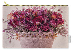 Pink Dried Roses Floral Arrangement Carry-all Pouch by Sandra Foster